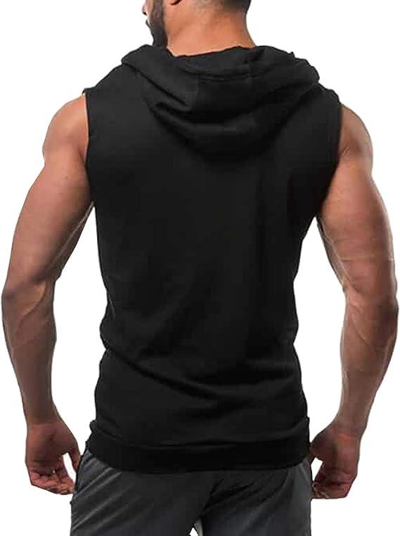 LemonGirl Mens Bodybuilding Sleeveless Hoodie Gym Tank Top