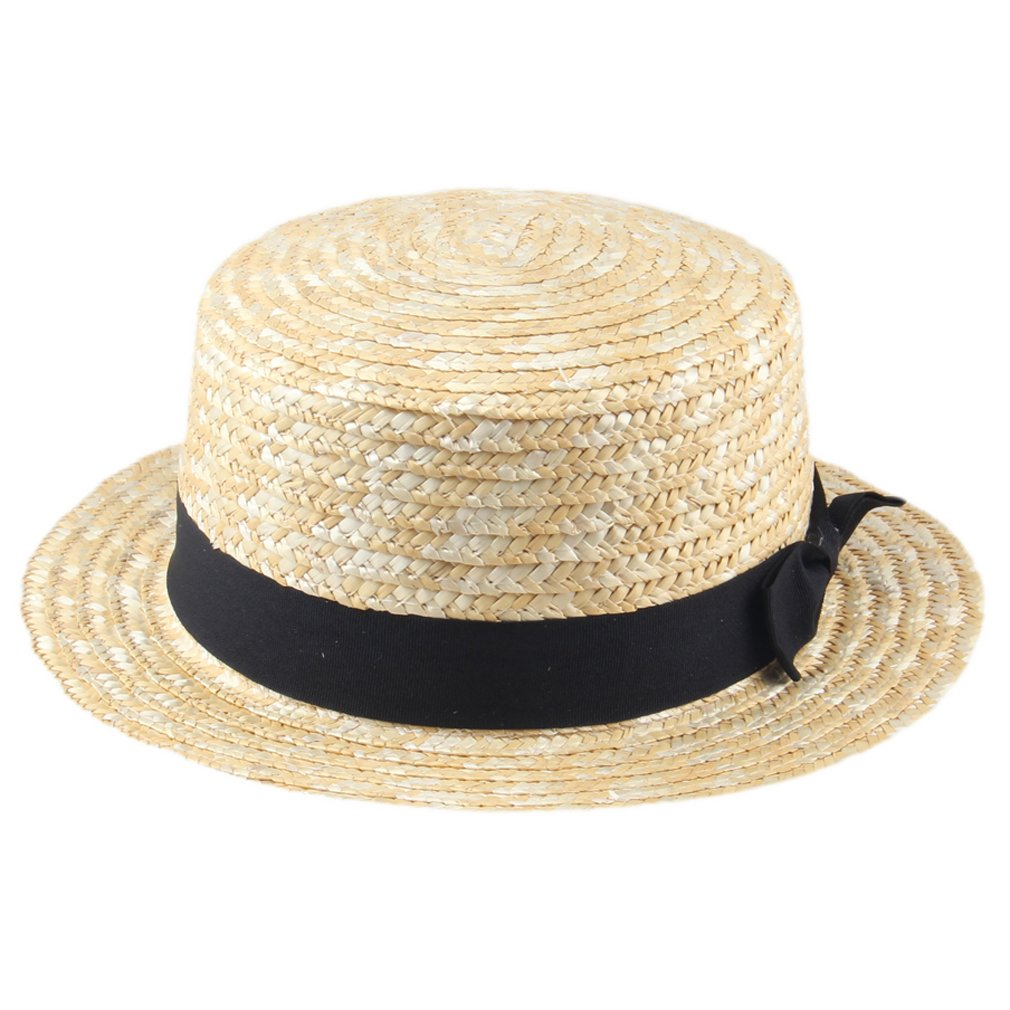 Elee Unisex Straw Boater Cap Sailor Sun Hat Ribbon Band