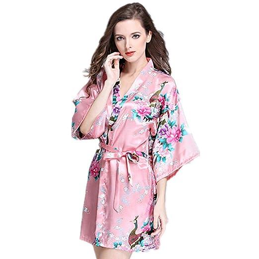 JYSPORT Albornoz Estampado Floral Pijamas Bata Verano Mujer Kimono Lencería Satén Albornoces: Amazon.es: Deportes y aire libre