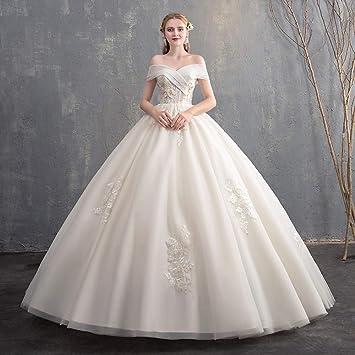 WFL Vestido de Novia Novia Femenina de Lujo Cara Delgada Hombro Simple Princesa soñador Qi,
