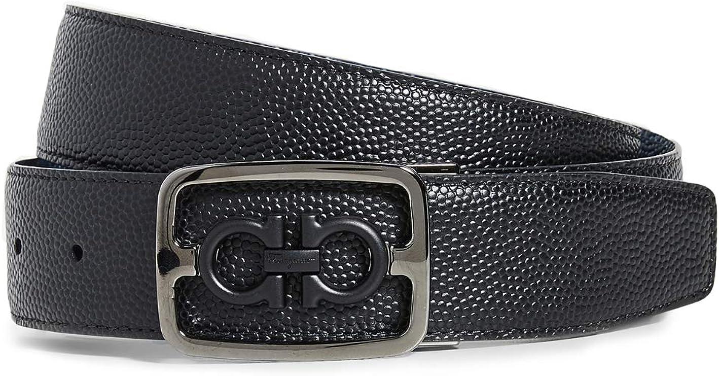 Salvatore Ferragamo Men's Framed Double Gancio Belt, Black/Ultramarine, 34