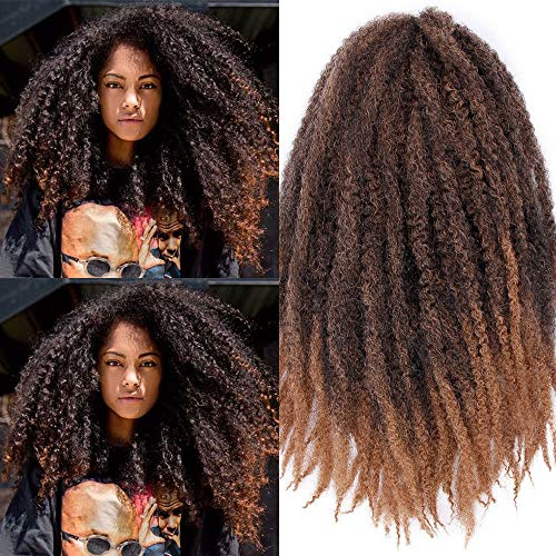 Marley Braids Hair Afro Kinky Curly Marley Curl Twist Braid Hair Extensions Kanekalon Synthetic Twist Crochet Hair 18 Inch Ombre Color (1B-27#)