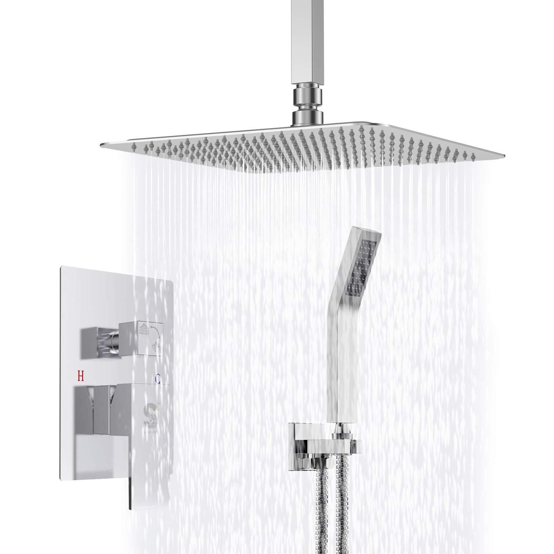 Sr Sun Rise Srsh C1003 Ceiling Mount Bathroom Luxury Rain Mixer Shower Combo Set Ceiling Install Rainfall Shower Head System Polished Chrome Contain