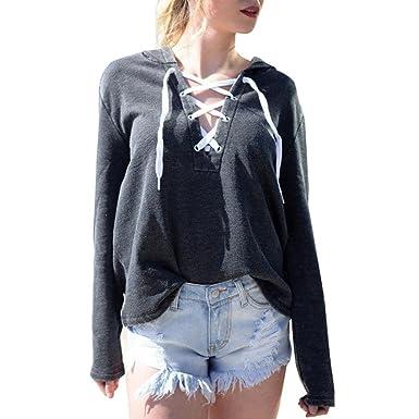 ef49814fdcbe0 Blouse Femme Fille Sweat à capuche Longra Laçage Sweat-shirt Manche longue  Crop Top Pulls