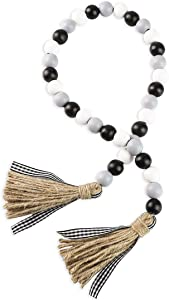 Farmhouse Wood Bead Garland with Tassels, Rustic Tiered Tray Holiday Decorations, Black, White and Gray Wooden Bead with Jute Rope Plaid Tassel, Natural Country Chic Home Decor (Black/White/Gray)