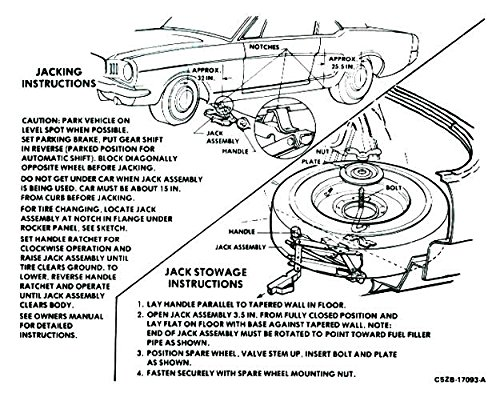 (1966 FORD MUSTANG JACKING INSTRUCTIONS DECAL - STICKER - All Models)
