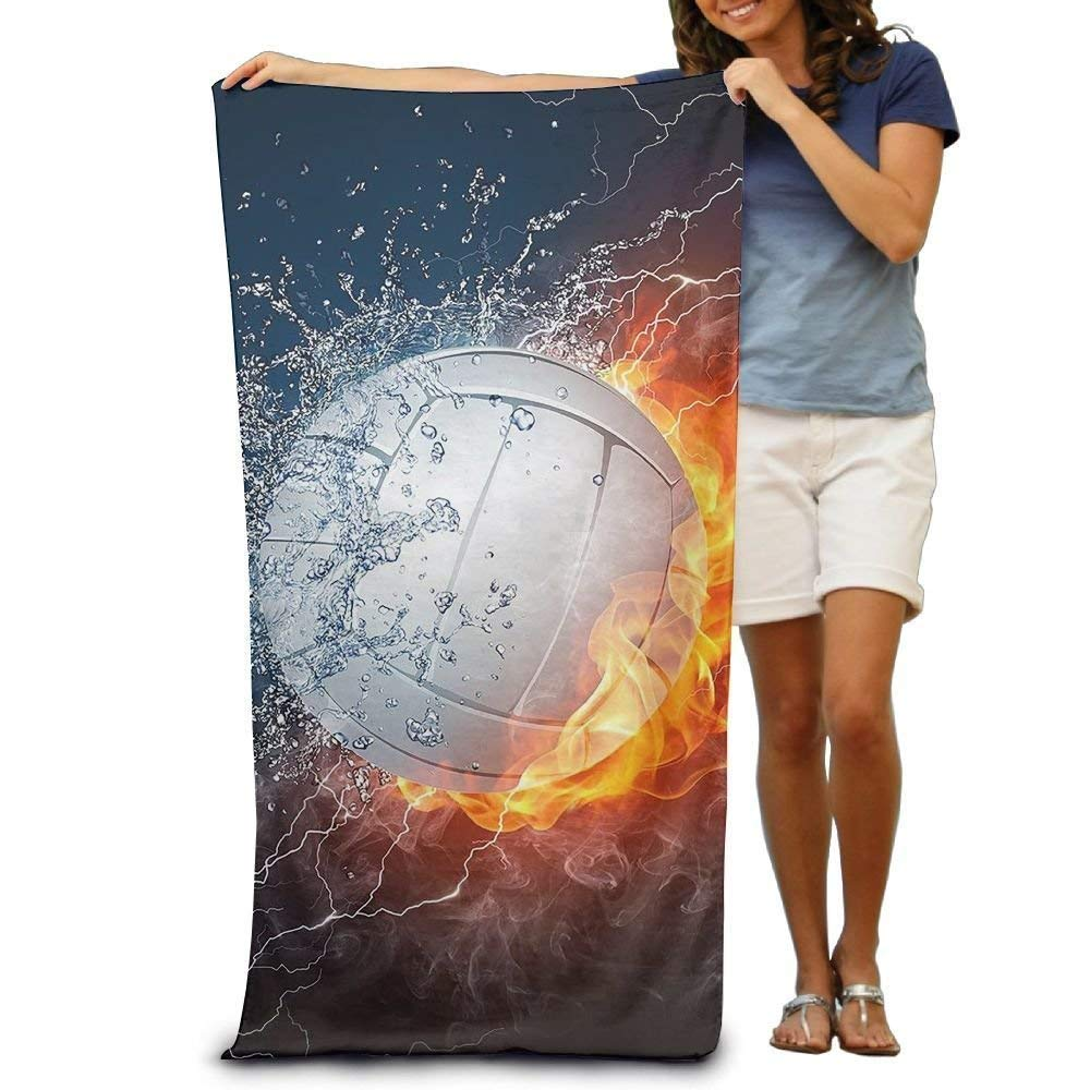 Super Absorbent Beach Towel Wate and Fire Volleyball Polyester Velvet Beach Towels 31 X 51 Inch DEFFWBb