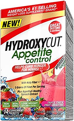 Hydroxycut Appetite Control with Appethyl Appetite Suppressant, Triple Thick Fruit Smoothie, 14 Count