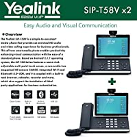 Yealink SIP-T58V 2-PACK Video Phone HD Audio USB 2.0 Opus Codec Dual Band Wi-Fi