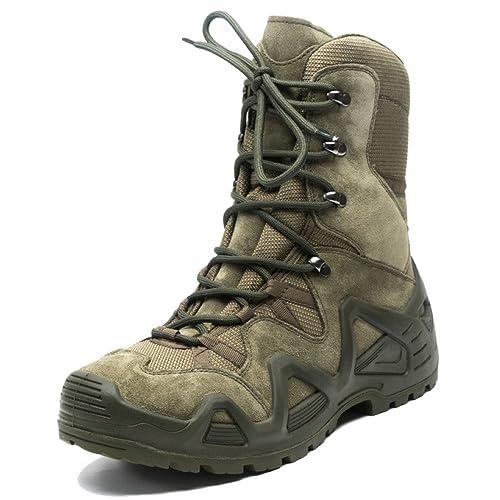 nihiug Scarpe da Trekking Alte da Uomo Scarpe da Pesca Leggere Antiscivolo Leggere Stivali Tattici Ultraleggeri da Combattimento…