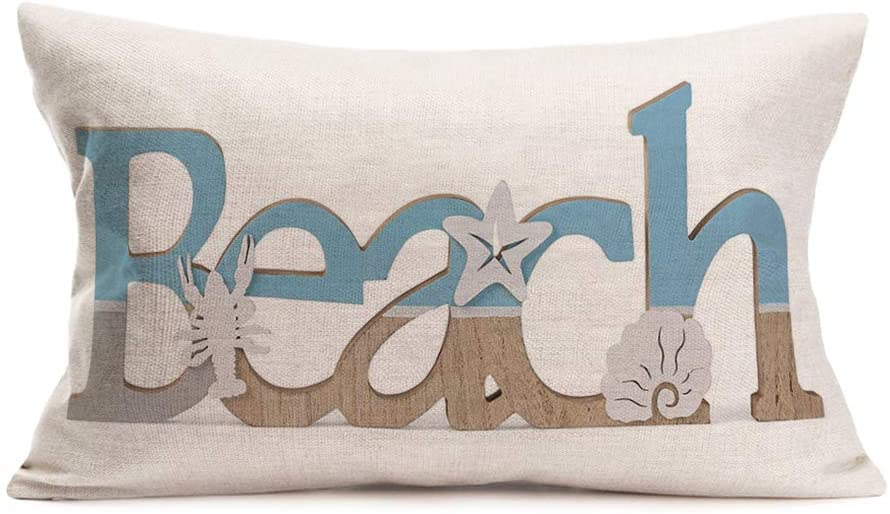 "Xihomeli Summer Beach Words Pillow Covers Seashell Starfish Scallop Cushion Covers Cotton Linen Rectangle Lumbar Pillowcase Home Decor for Bedroom Sofa Chair 12""x20""(Word Beach)"