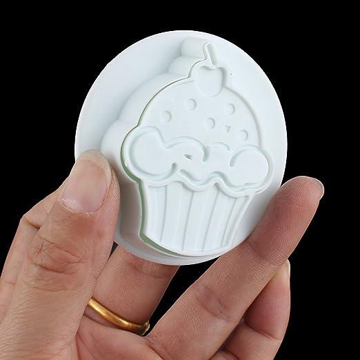 Amazon.com : Forma eDealMax helado Pasta de azúcar que adorna el molde del molde del cortador del émbolo 4pcs : Baby