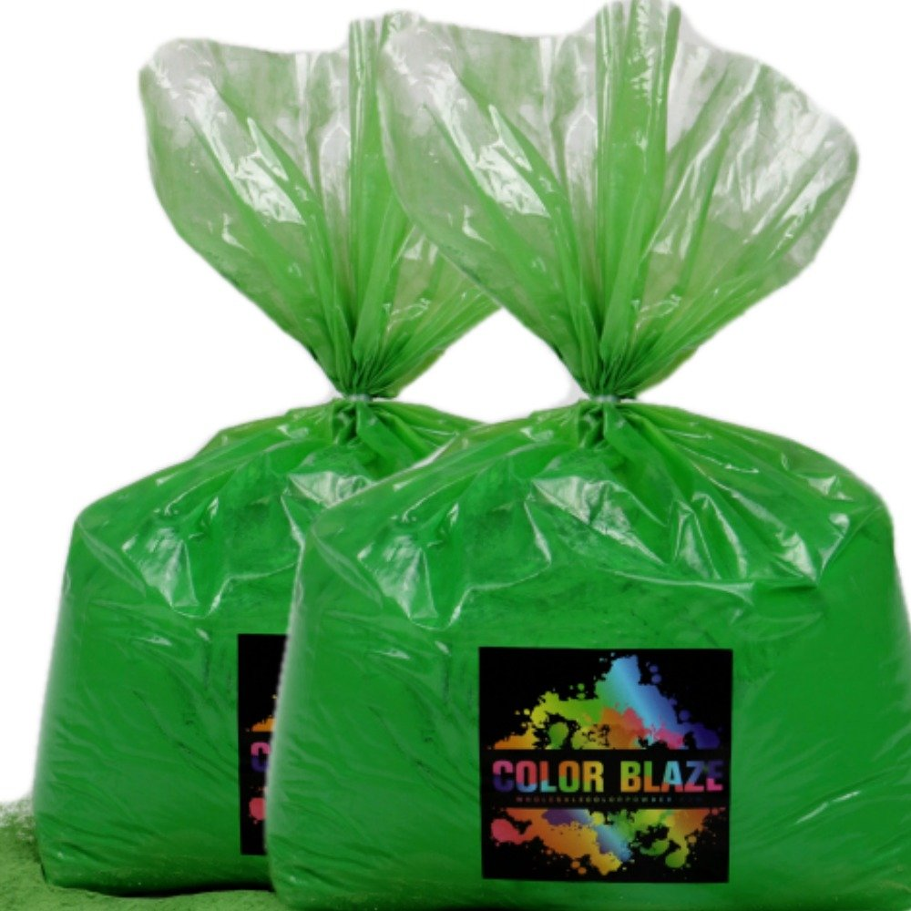 Color Powder Green 50lbs - (Two 25lb bags) Ideal for color run events, youth group color wars, Holi events and more! Purple, Blue, Red, Yellow, Orange, Pink and Teal Available by Color Blaze/Wholesale Color Powder