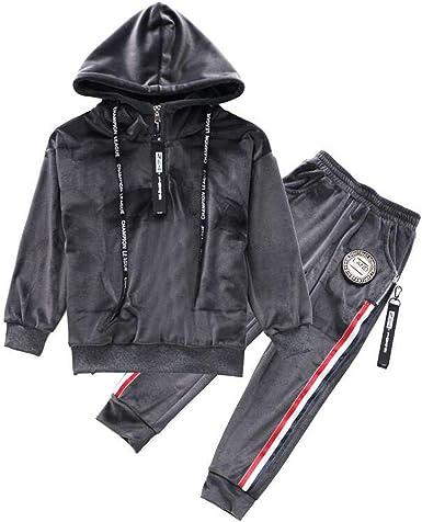 Boys Girls Velvet Hooded Tracksuit Sweatshirt Top Sweatpants Hoodie Outfit Set