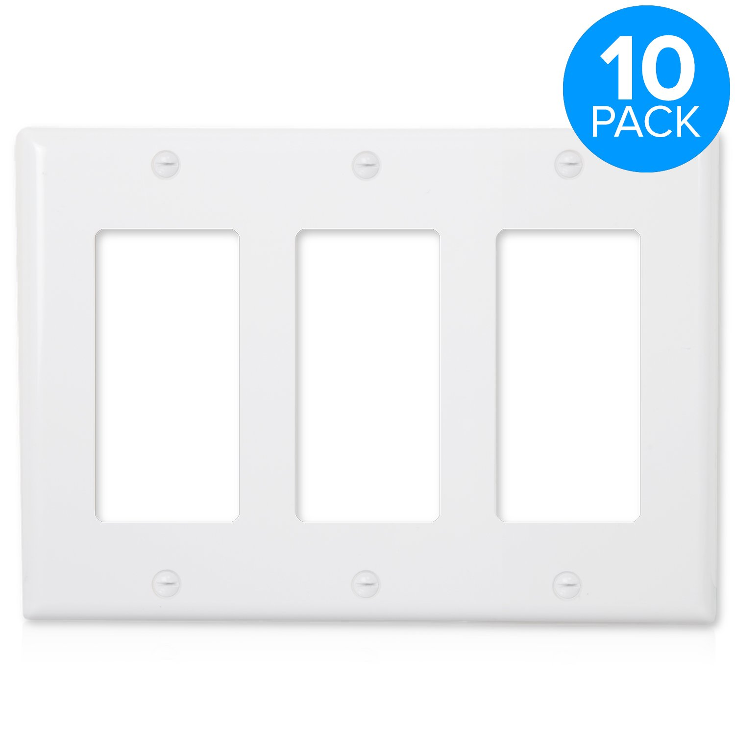 Maxxima 3 Gang Decorative Outlet Wall Plate, White, Standard Size (Pack of 10)