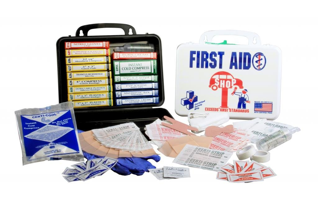 Certified Safety K613-019 16PW Shop Deluxe First Aid Kit, Poly White