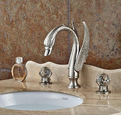 GOWE Brushed Nickel Deck Mount Bathroom Basin Sink Faucet Dual Handle 3 Holes Hot Cold Mixer Taps 3