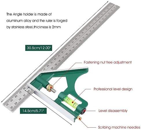 /ángulo de 45/° 300 mm Escuadra combinada con nivel m/étrico de burbuja de aluminio 90/°