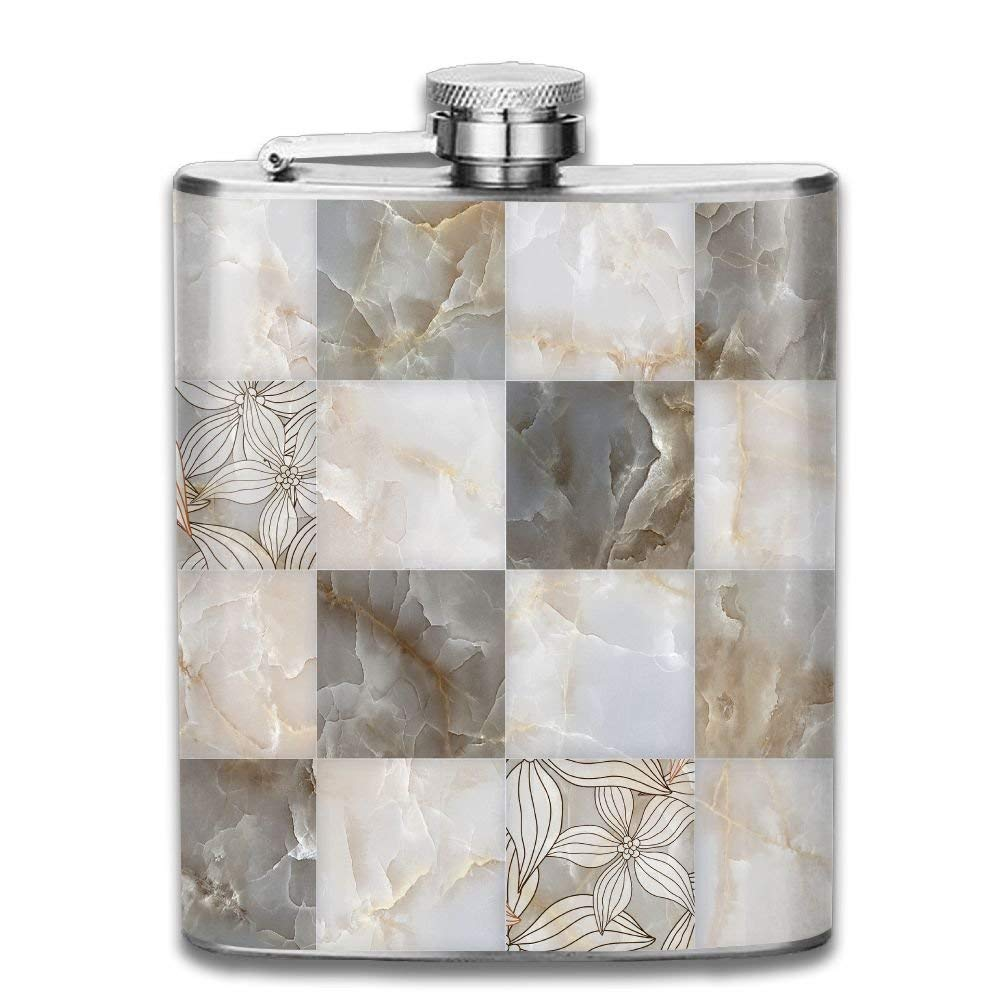 Gxdchfj Abstract Marble Stone Blocks Pattern 304 Stainless Steel Flask 7oz