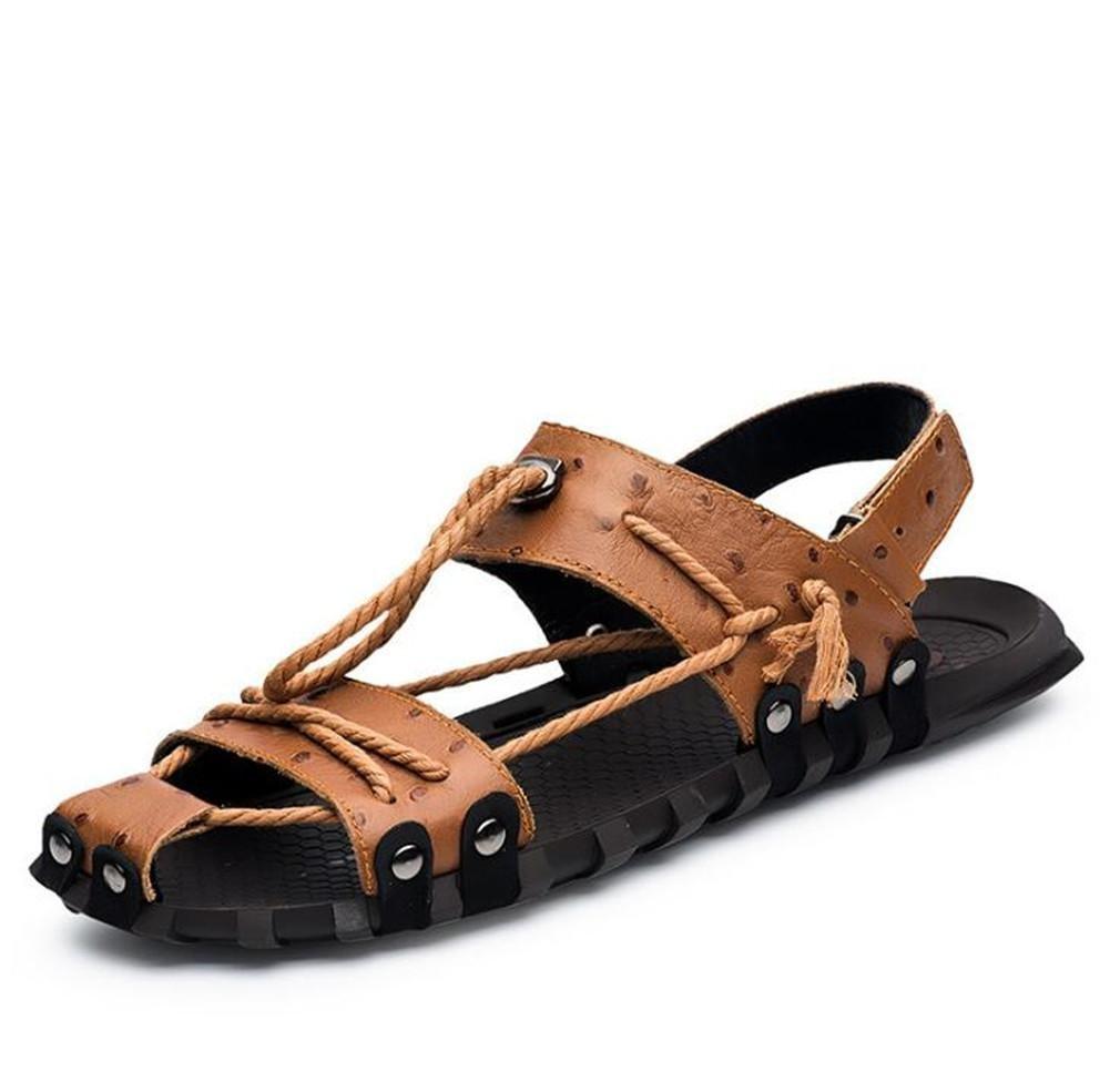Zapatos de hombre Sandalias de cuero genuino Cordón Velcro Beach Summer Toe Respirable Diapositivas antideslizantes Tamaño 38 a 45 , brown , EU40 EU40|brown