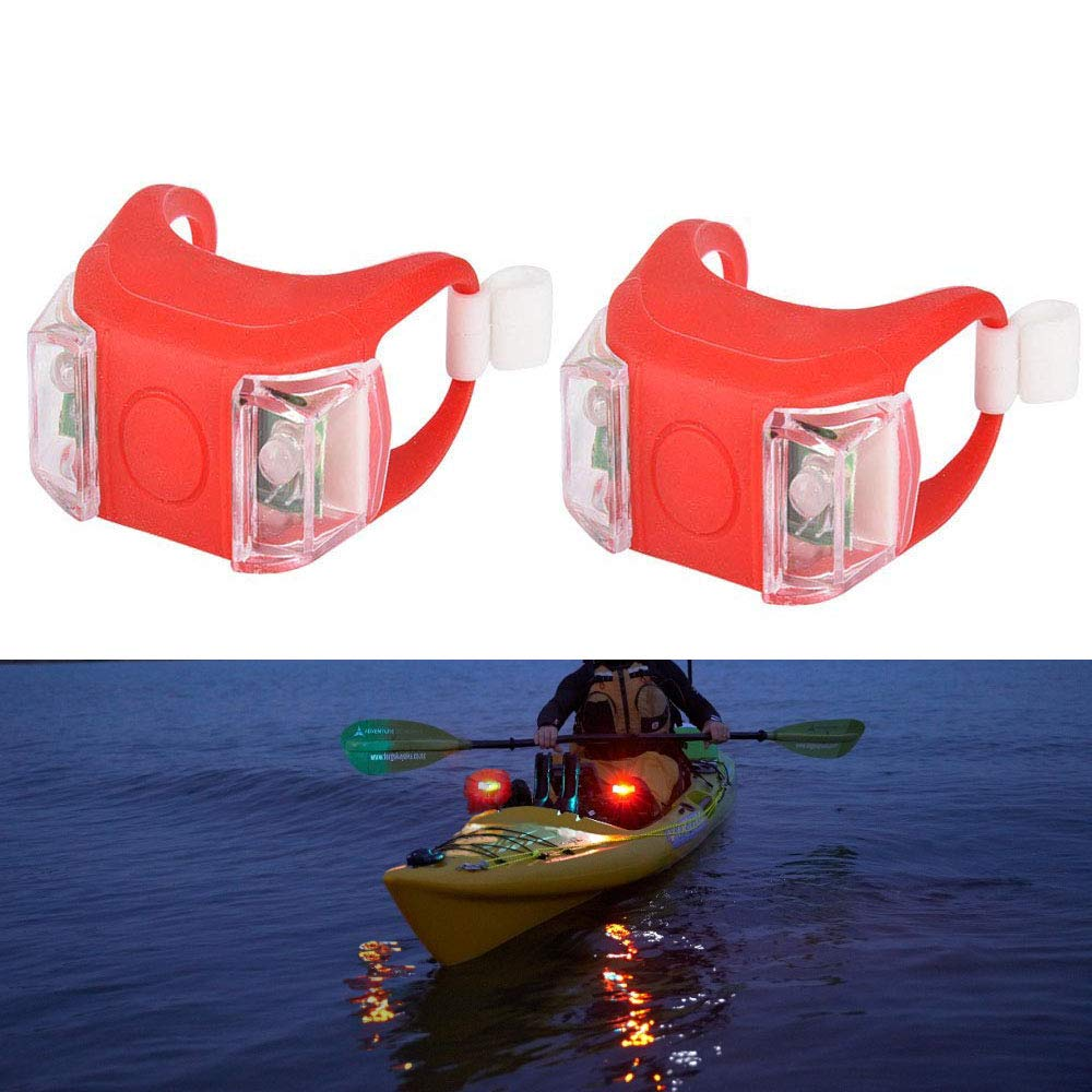 Sunnier 2 Pack Kayak Navigation Lights Waterproof Battery Wiring Diagram Cr2032 Powered Boat Bow Stern Safety Red Led Night Boating Kayaking