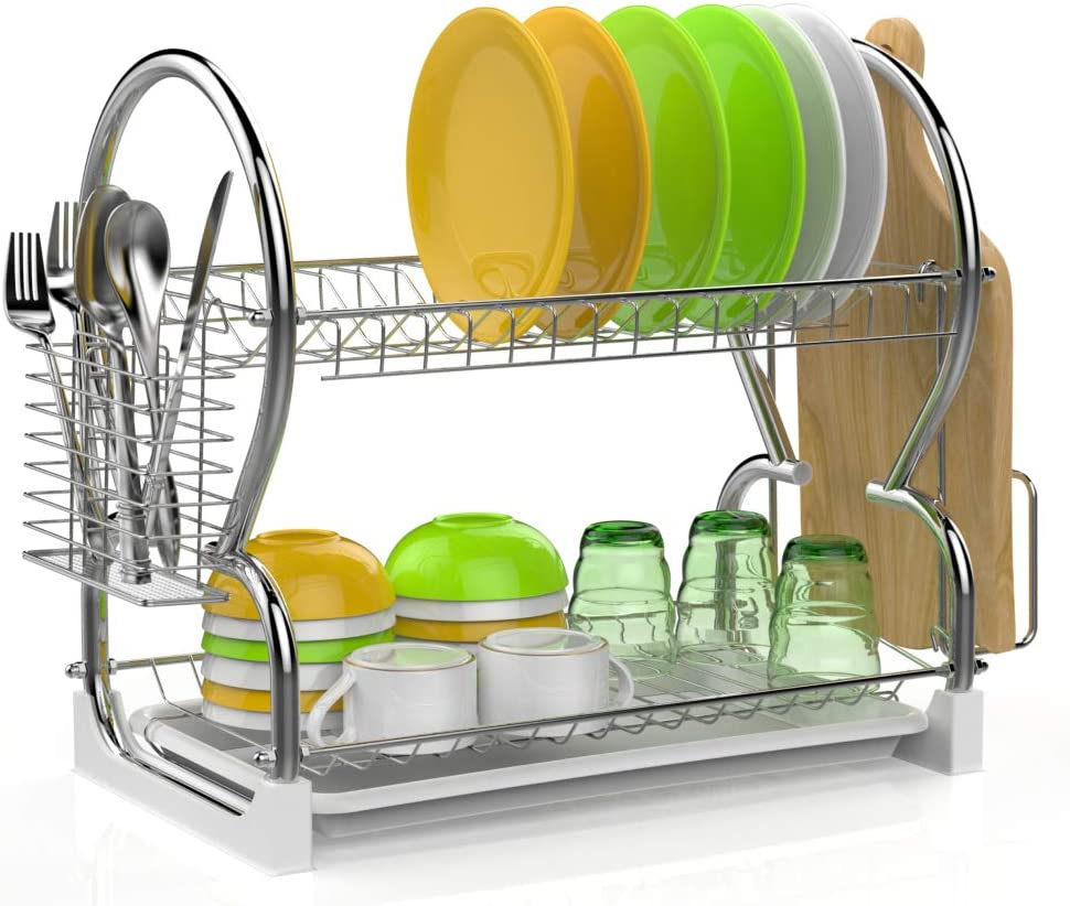 Cutting Board Holder and Dish Drainer for Kitchen Counter Dish Dryer Black Dish Drying Rack iSPECLE 2-Tier 304 Stainless Steel Dish Rack with Utensil Holder
