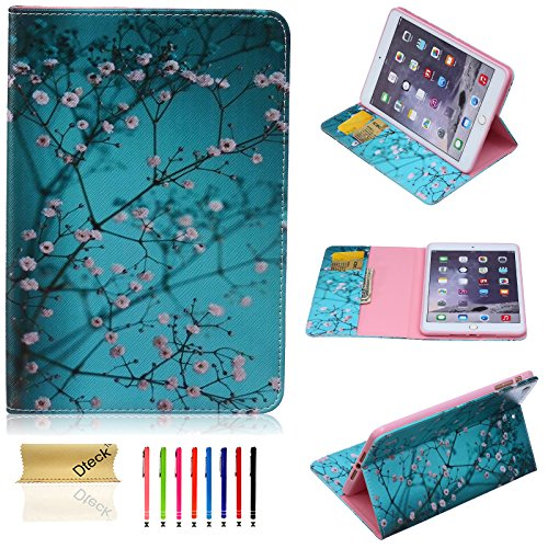 iPad Mini Case, Dteck(TM) Cartoon Cute Design PU Leather Flip Stand Case with [Cards Slot&Money Holder] Full Body Protective Cover for Apple iPad Mini 3/2/1 (02 Pear Flower) 02 Flower