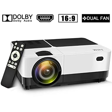 Wsky 2019 Newest LCD LED Outdoor Portable Home Theater Video Projector, Support HD 1080P Best for Outdoor Movie Night, Family, Compatible with Phone, PS4, Xbox, HDMI, USB, SD