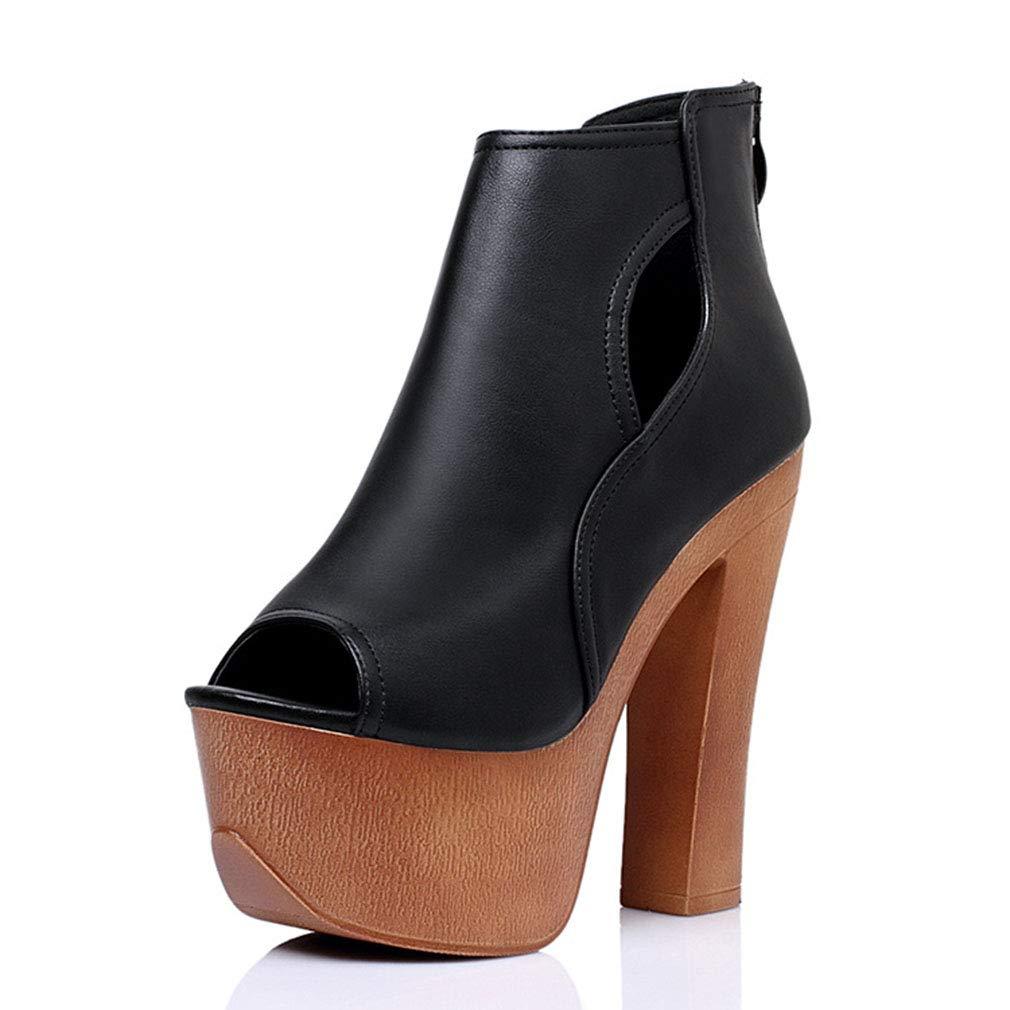 YAN damen es High Heels Schuhe 2019 2019 2019 New Rough High Heels PU Thick Heel Sandals Party & Evening Dress schuhe schwarz schwarz 39 6e13b5