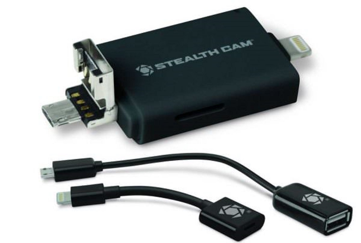 Stealth Cam STC-DDMCR Dual Device Memory Card Reader (iOS and Andriod) Black
