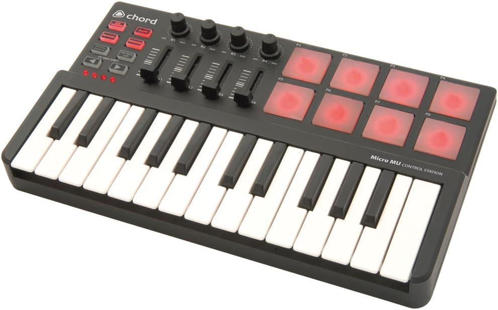 Chord   Controlador MIDI con mini teclado de 25 notas: Amazon ...