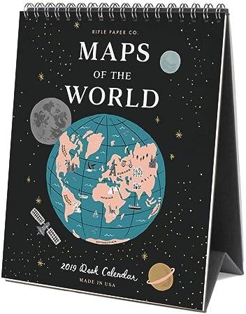 Rifle Paper 2019 - Calendario de mesa de mapamundi: Amazon.es ...