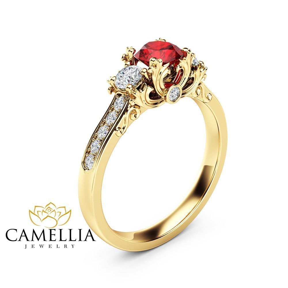Amazon Com Unique 3 Stone Ruby Diamonds Ring 14k Yellow Gold Ring Natural Ruby Engagement Ring Handmade