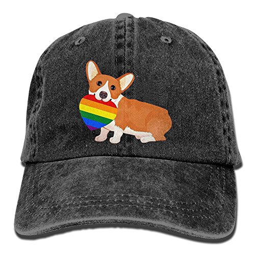Osmantus Men's Adjustable Gay Pride Heart Dog Baseball Cap Dad Hat Black