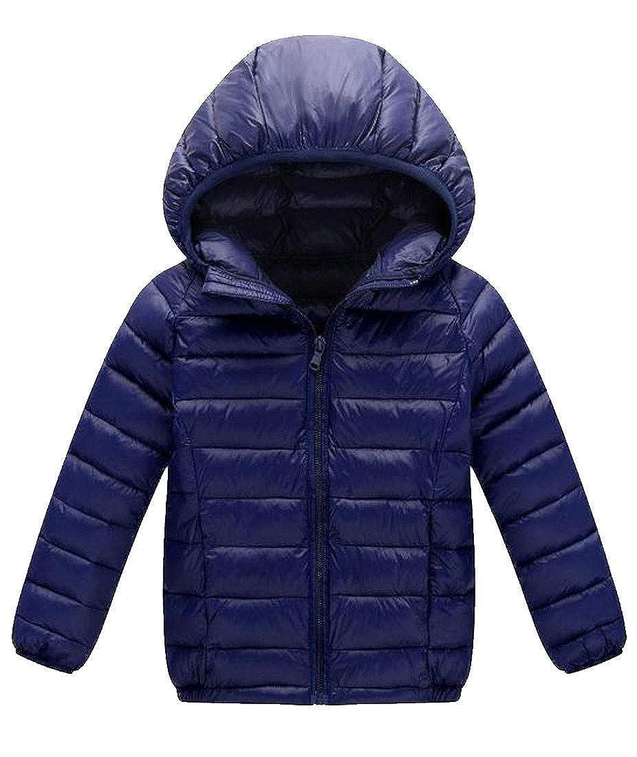 Cromoncent Boy Fashion Hoodie Zipper Up Puffer Light Weight Parka Jackets Coat