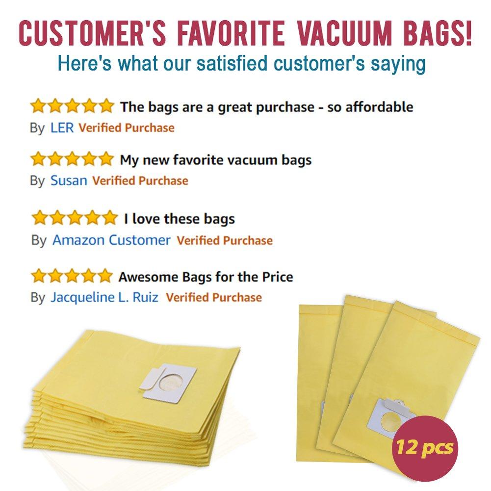 Set of 12 Anti-bacterial Hypoallergenic Premium Vacuum Bags for Kenmore Canister Type C, Panasonic Type C5, 50558 50557 5055 Vacuum Cleaner, Eco-friendly Wood Pulp Paper by King Vacuum Bags (Image #5)
