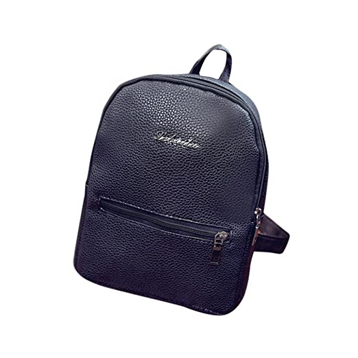 d49f0d919671d7 Sumen Girls Leather School Bag Travel Backpack Mini Satchel Shoulder  Rucksack for Women (Black)