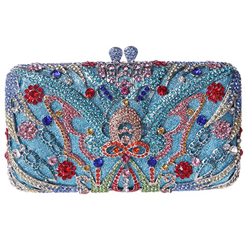 Fawziya Butterfly Clutches For Women Rhinestone Crystal Evening Bags-Blue