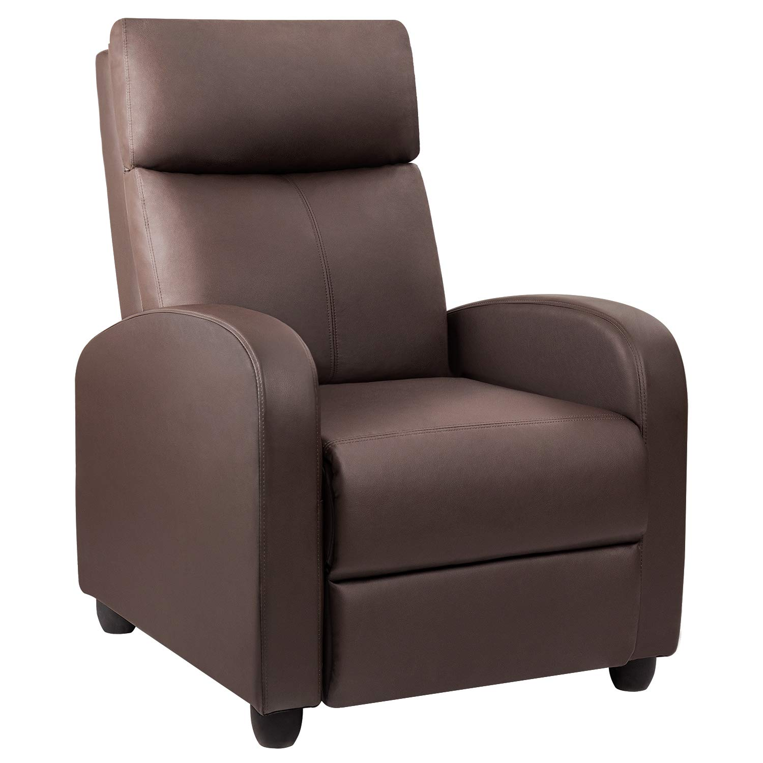 Devoko Adjustable Single Recliner Chair, PU Leather Modern Living Room Chair, Padded Cushion Reclining Sofa for Home Theater Seating (Brown) by Devoko