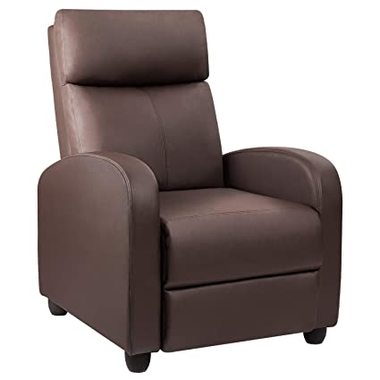Devoko Recliner Chair PU Leather Modern Single Living Room Reclining Sofa  Padded Cushion Adjustable Home Theater Seating (Brown)