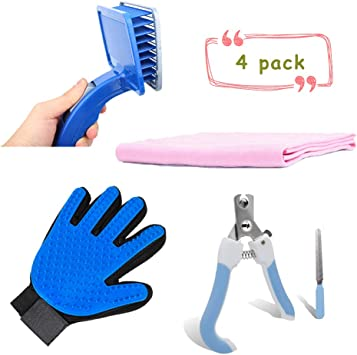 Grooming Kit Cat Kitten Soft Brush Hair Removing Slicker Brush And Nail Clippers