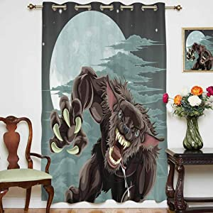 Wolf Shading Curtains Night Skyline with Full Moon and Stars Werewolf Attacking Position Ravenous Being Decorative Grommets Panels Printed Curtains ,Single Panel 63x45 inch,for Living Room Multicolor