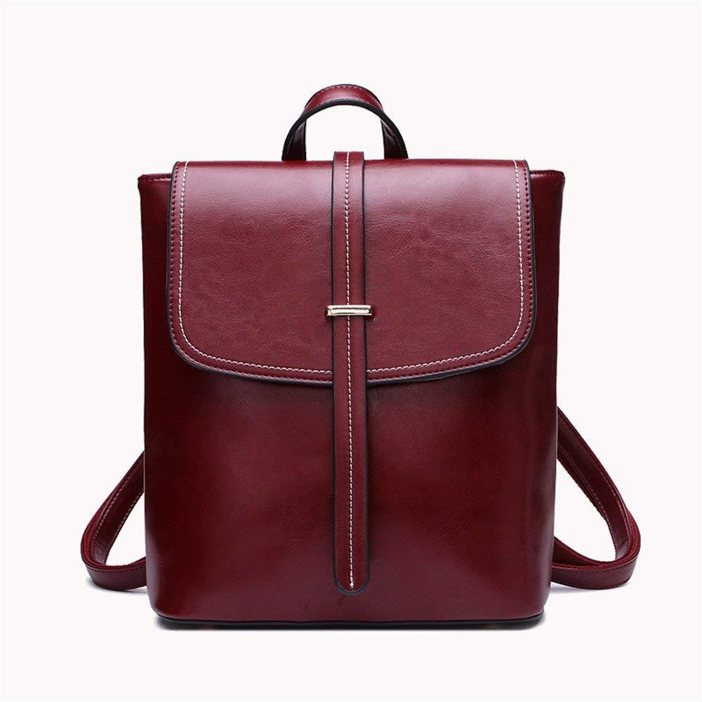 Laisla fashion ラップトップバックパックレザーハンドバッグファッションショルダーバッグバックパックレザーハンドバッグスクールウィンドバッグポータブル多機能バックパック赤ワイン B07QRPJQ1Y Colour One Size