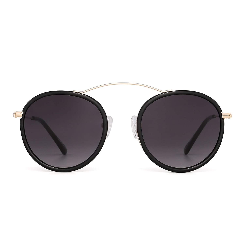 9707cbc3e0 Retro Round Sunglasses Circle Flat Mirrored Glasses Metal Shades Women Men ( Black Gradient Grey)  Amazon.co.uk  Clothing