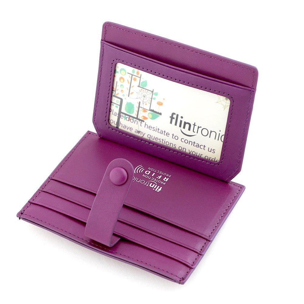 726e17b100 flintronic Porta Carte di Credito e Tasche Pelle, RFID/NFC Blocco  Portafoglio Bifold Magico ID Clip