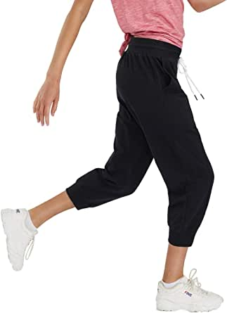 SPECIALMAGIC Women's Sweatpants Capri Pants Cropped Jogger Running Pants Lounge Loose Fit Drawstring Waist with Side Pockets