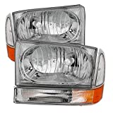 99 superduty headlights - Ford F250 F350 F450 Superduty Excursion Crystal Headlights With Bumper Lights Chrome Housing With Clear Lens+ Free Gift Universal DRL 6 White LED Lights