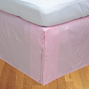 Brightlinen Pink King (150 X 200 Cm) Box Pleated Bedskirt Stripe (drop Length: 34 Cms) 1pcs
