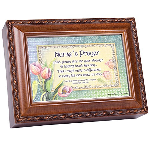 - Cottage Garden Nurse's Prayer Woodgrain Rope Trim Jewelry Music Box Plays Great is Thy Faithfulness