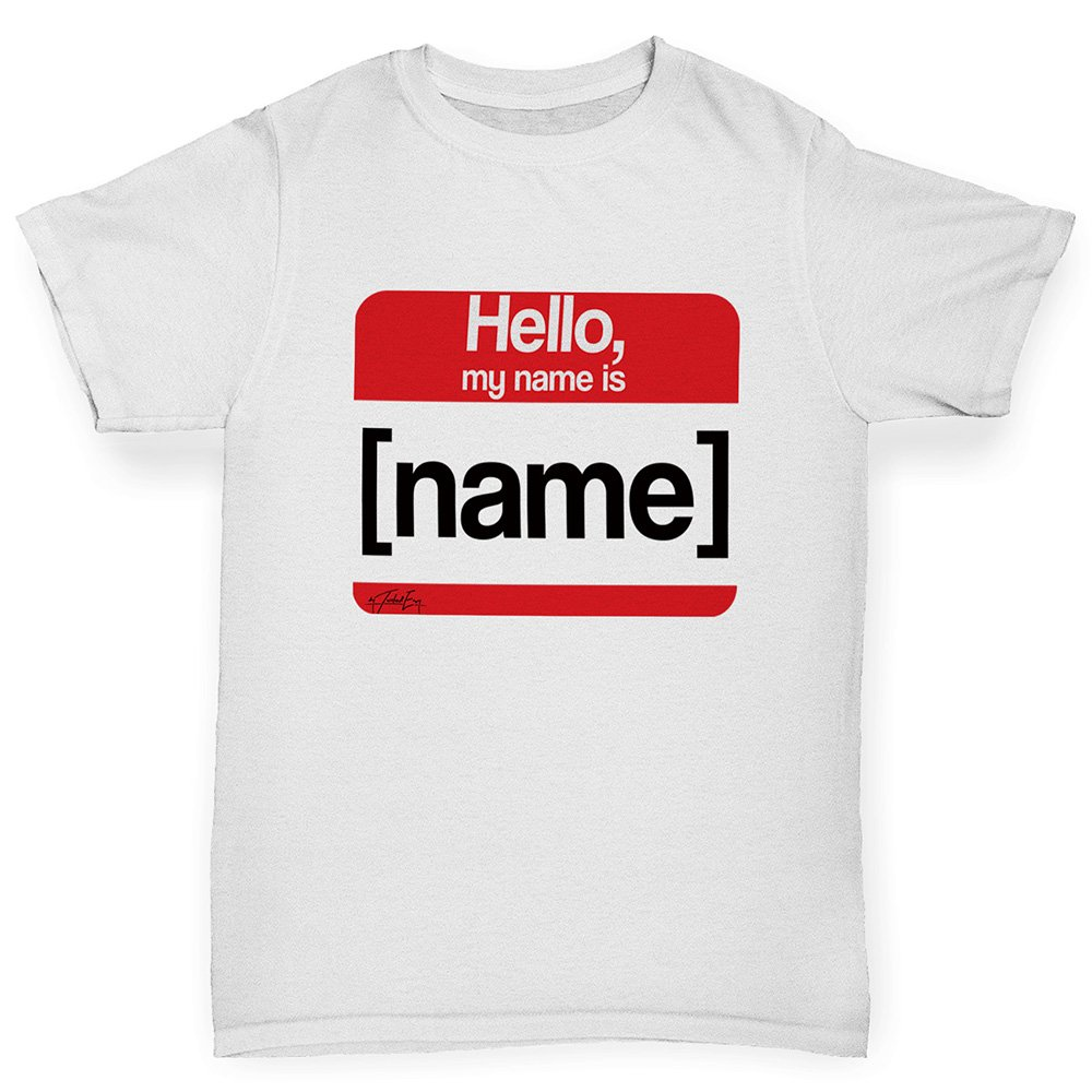 TWISTED ENVY Boys Novelty tees Personalised My Name is Age 9-11 White by TWISTED ENVY